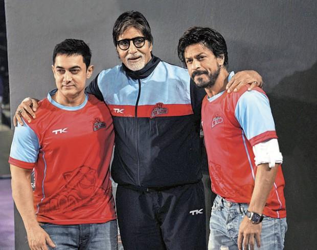 Aamir Khan and Shah Rukh Khan with Amitabh Bachchan