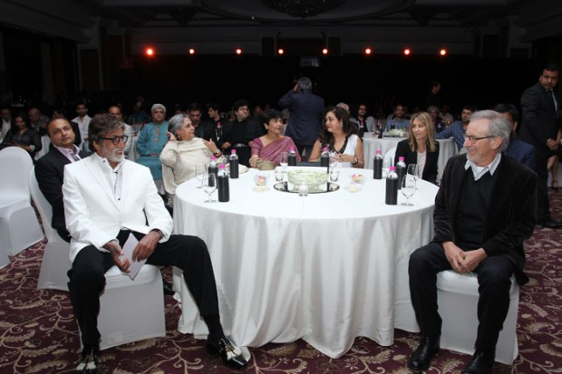 Bollywood Star Amitabh Bachchan shares a light moment with Steven Spielberg
