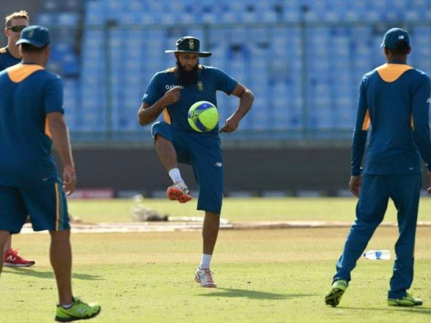Hashim Amla playing football during practice session