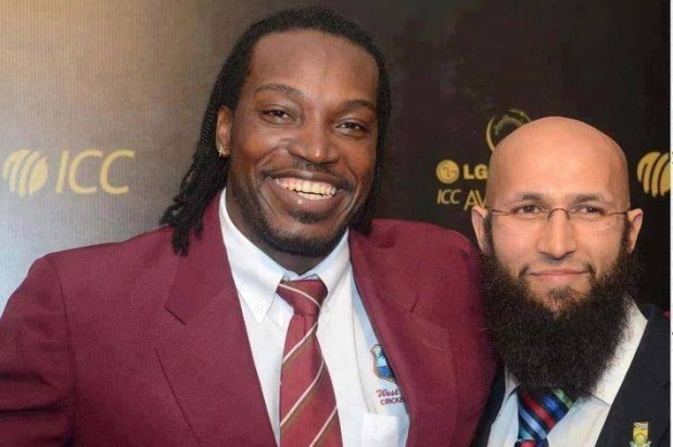 Amla with Chris Gayle