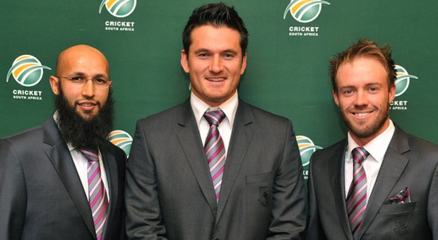 Hashim Amlawith Graeme Smith and AB DeVilliers