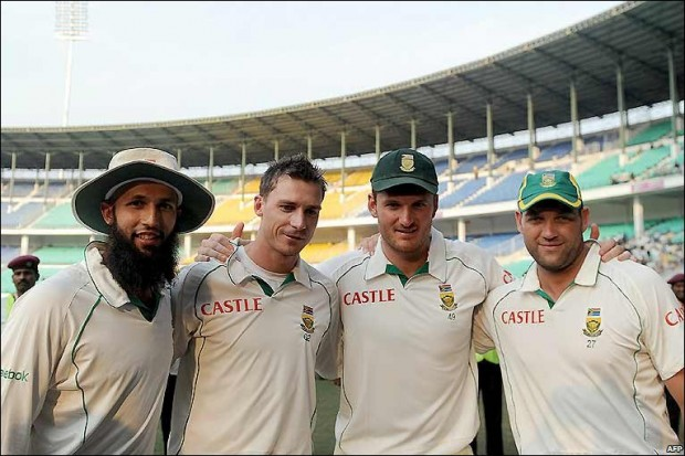 Hashim Amla with Dale Steyn, Graeme Smith and Jaques Kallis