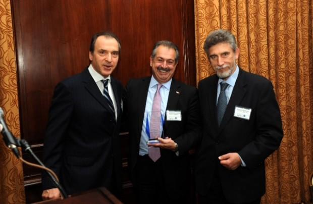 Andrew Liveris with Nicholas Bornozis and Christos P Panagopoulos
