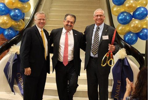 David Kepler and Andrew Liveris, along with College of Chemistry Dean Richard Mathies