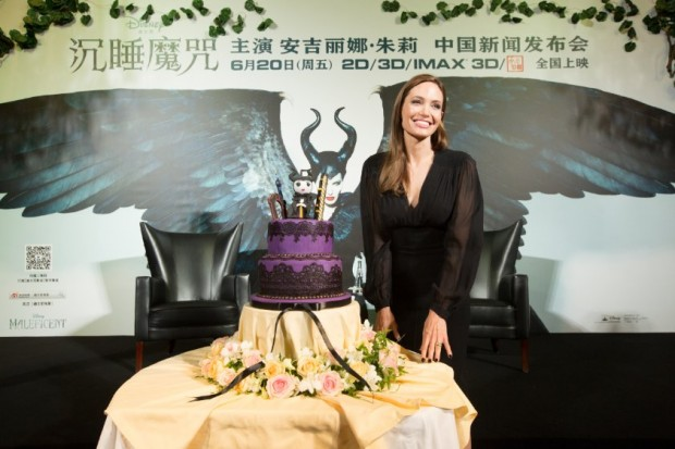 Birthday cake for Angelina at Maleficent' China press conference