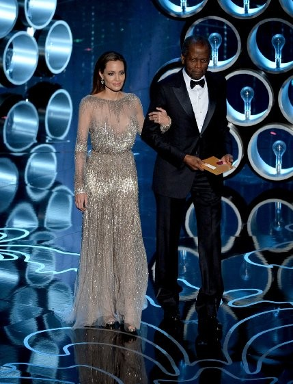 Angelina Jolie and Sidney Poitier at event of The Oscars