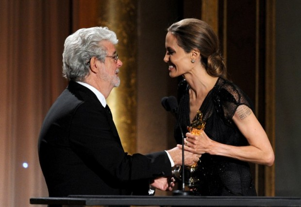 George Lucas and Angelina Jolie