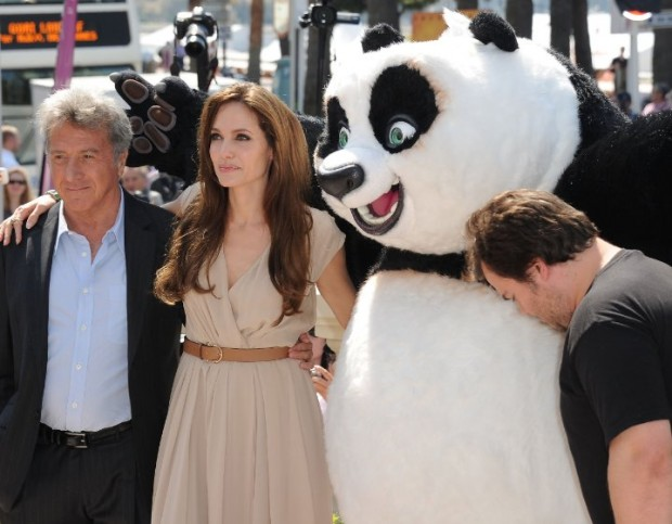 Dustin Hoffman, Angelina Jolie and Jack Black at Kung-Fu Panda Event