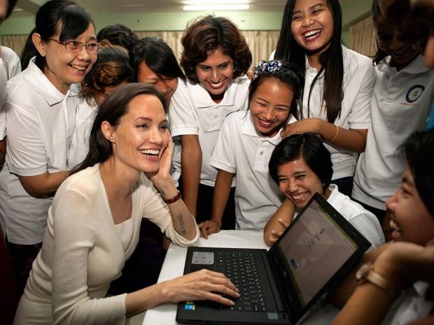 Angelina Jolie during Humanitarian Trip in Myanmar