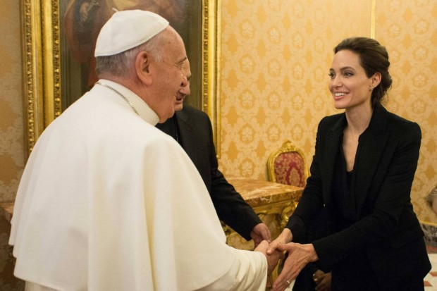 Angelina Jolie with Pope Francis
