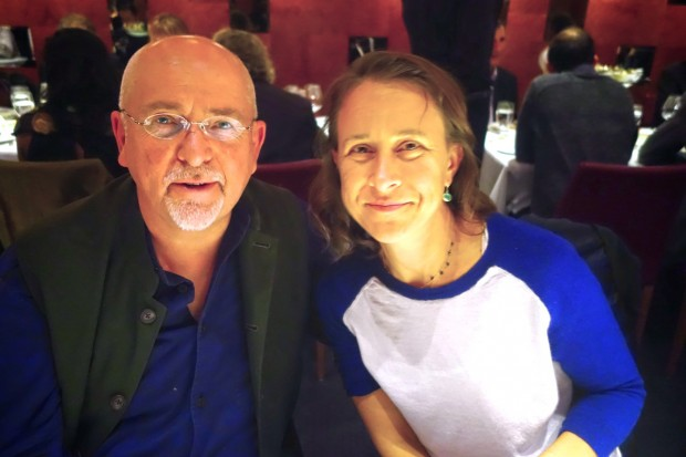 Anne Wojcicki with Musician Peter Gabriel at The Edge Annual Dinner