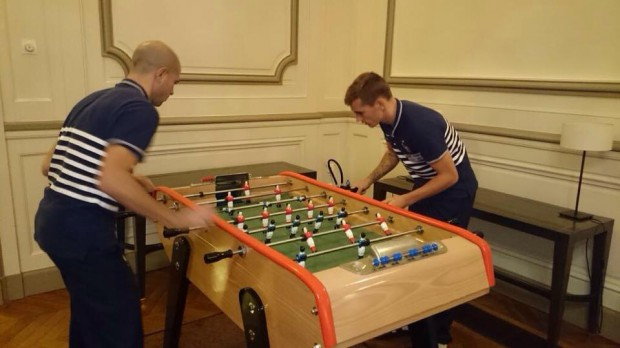 Antoine playing table football with Christophe Jallet