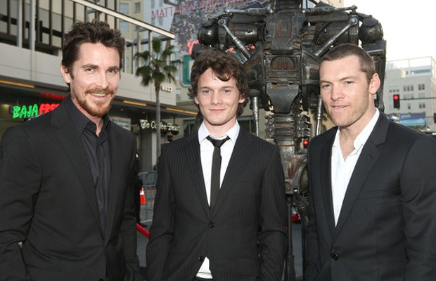 Anton Yelchin with Sam Worthington and Christian Bale