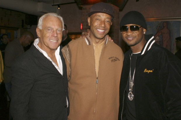 Giorgio Armani with Russell Simmons and Usher