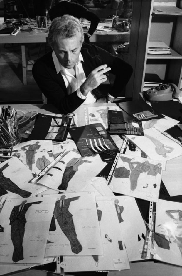 Giorgio Armani Looking at his designs in His Studio