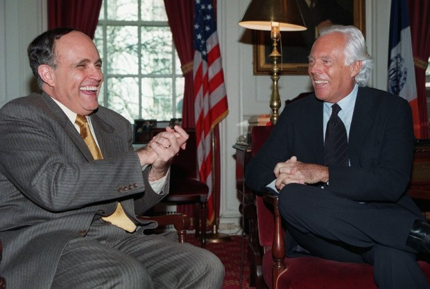 Giorgio Armani with Mayor Rudy Guiliani