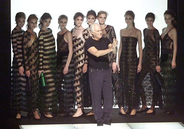 Armani with Models in 1999 Milan Show