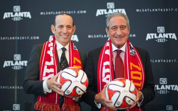 Arthur Blank With Major League Soccer Commissioner Don Garber