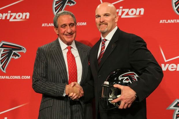 Arthur Blank With Atlanta Falcons head coach Dan Quinn