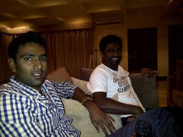 Ashwin with Legendary Spinner Muralidharan