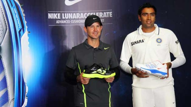 Ricky Ponting and Ravichandran Ashwin during Nike Shoe Launch