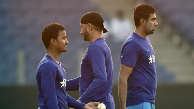 Ashwin with Harbhajan and Pawan Negi during practice session