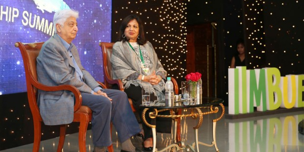 Azim Premji and Kiran Majumdar Shaw during the fireside chat at IIMBUE