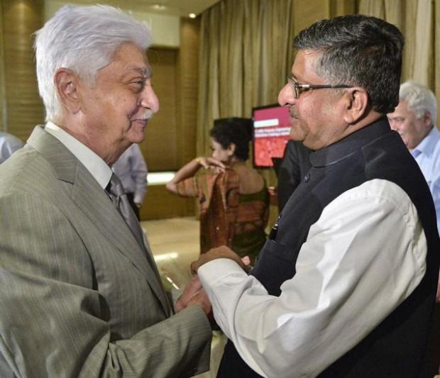 Azim Premji with Ravi Shankar Prasad