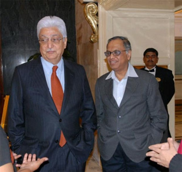 Azim Premji with Infosys Chairman Narayana Murthy