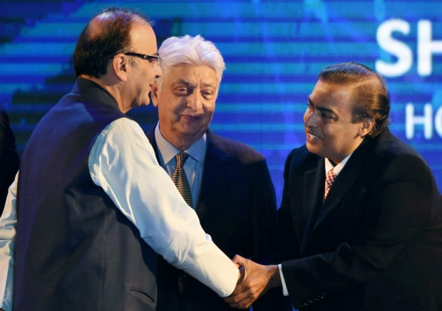 Mr. Azim Premji with Finance Minister Mr. Arun Jaiitley and Mr. Mukseh Ambani