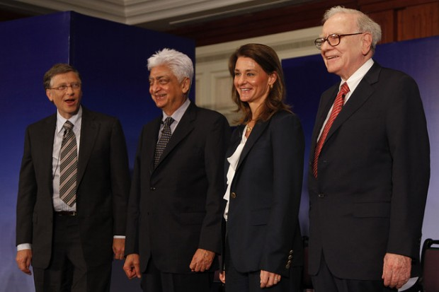 Azim Premji with Bill Gates, Melinda Gates and Warren Buffett