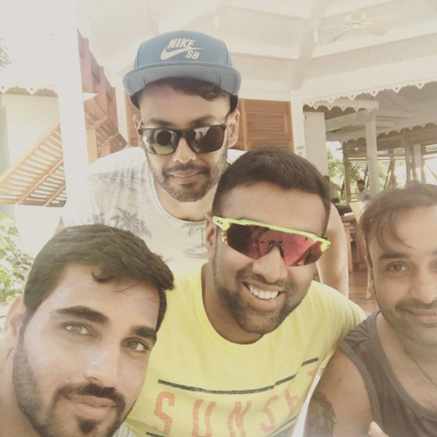 Bhuvi with Ahwin, Mishra and Sran