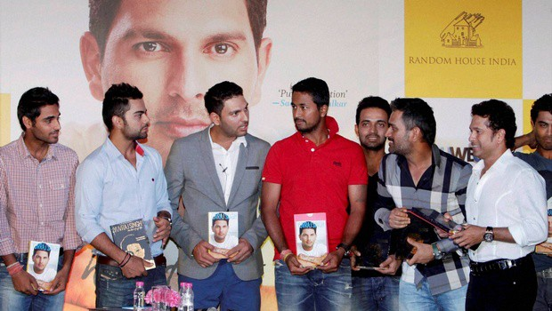 Bhuvi with Sachin, Dhoni, Kohli and other cricketers at Yuvraj Singh's book launch