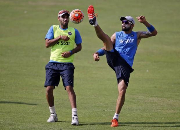 Bhuvi playing football with kohli