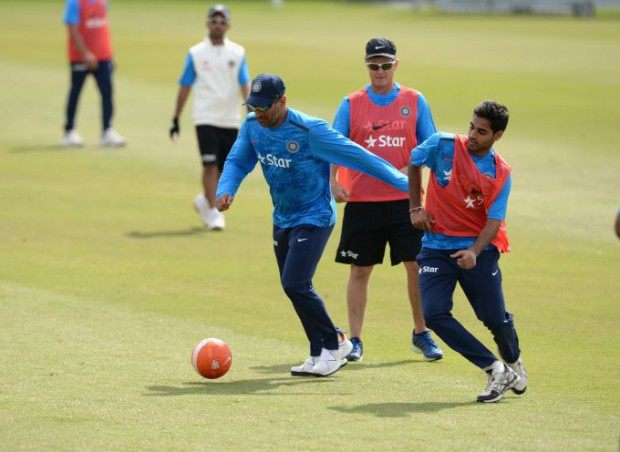 Bhuvi and Dhoni playing football during practice session