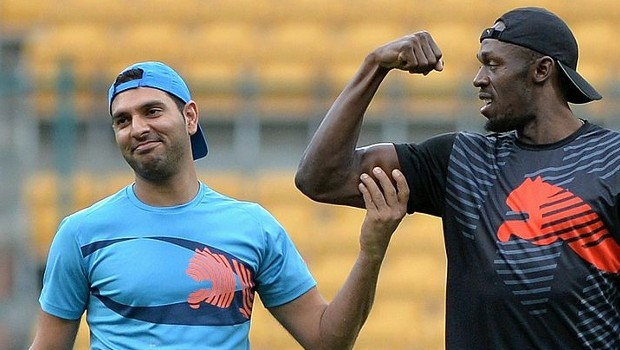 Indian Star All-Rounder Yuvraj Singh with Usain Bolt