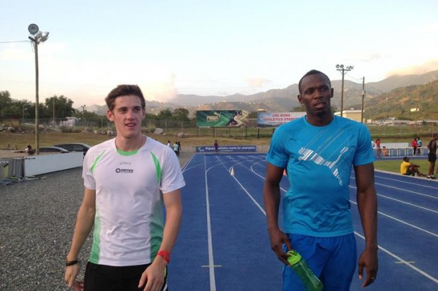 Jarrod Geddes and Usain Bolt