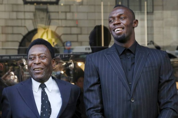 Jamaican sprinter Usain Bolt with Soccer Legend Pele