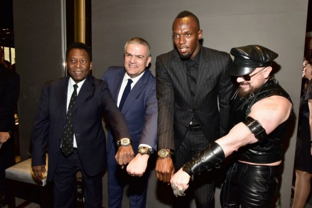 Pelé, Ricardo Guadalupe, Usain Bolt and Peter Marino showing their Hubolt Watches