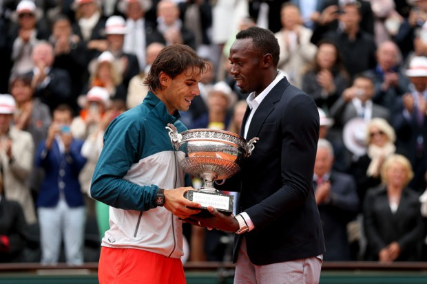 Usain Bolt Presenting French Open Trophy to Nadal