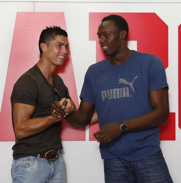 Cristiano Ronaldo with Usian Bolt