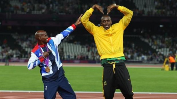 Mo Farah Poses with Usain Bolt