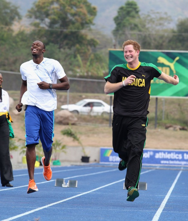 Prince Harry Running With Usain Bolt