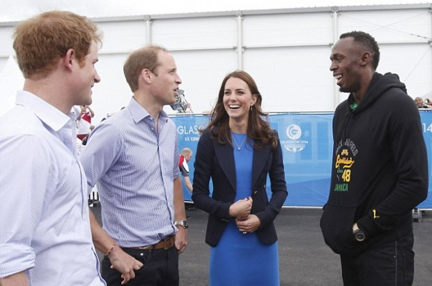 Bolt with Prince Harry, Prince William and Princess Kate Middleton