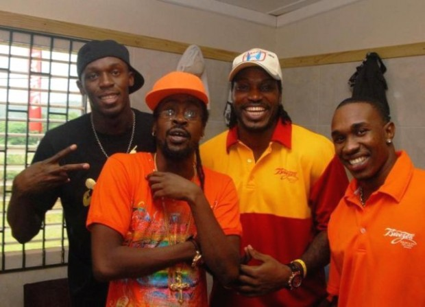 Usain Bolt with Beenie Man, Chris Gayle and Dwayne Bravo
