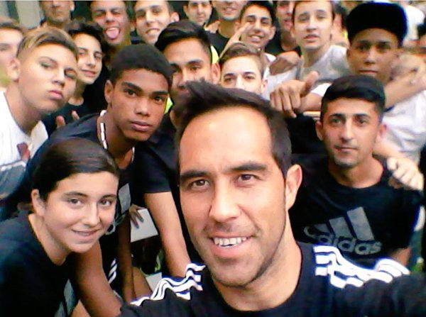 Claudio with fans during Adidas event