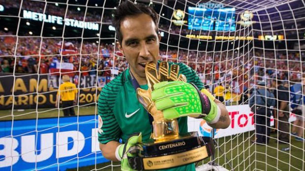 Claudio Bravo with Copa America Golden Glove