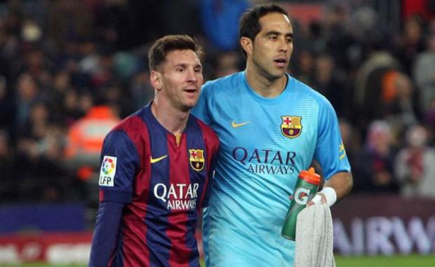 Claudio Bravo and Lionel Messi