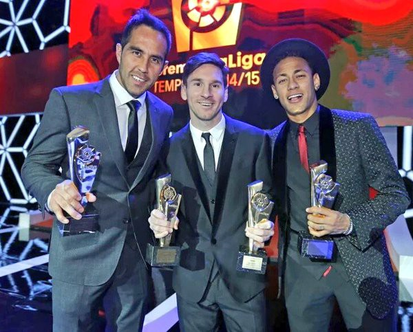 Claudio with Messi and Neymar