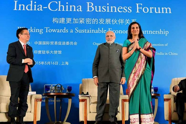 Prime Minister Narendra Modi with Chanda Kochhar, MD and CEO, ICICI Bank during the India-China Business Forum